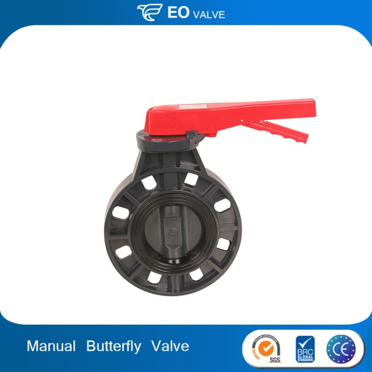 Hand Wheel Type Manual Double Flange Upvc Pvc Water Butterfly Valve