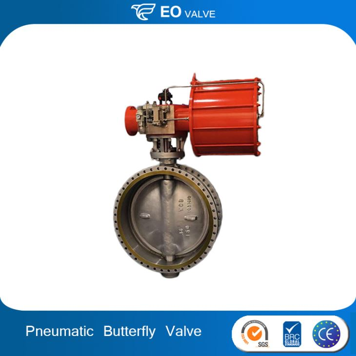 Metal Seal Triple Offset Pneumatic Air Operated Flanged Butterfly Valve