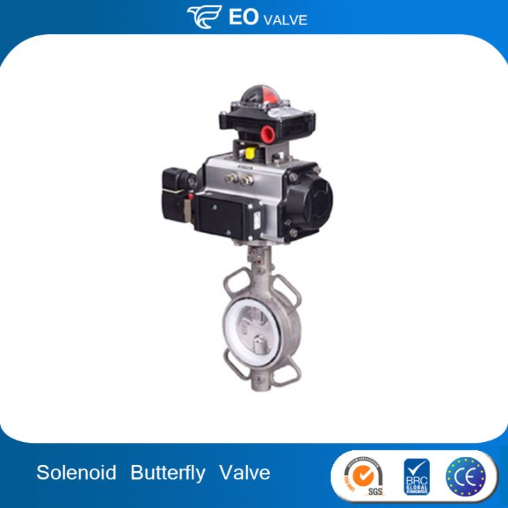 Pneumatic Actuated Stainless Steel Butterfly Valve With Solenoid Switchbox